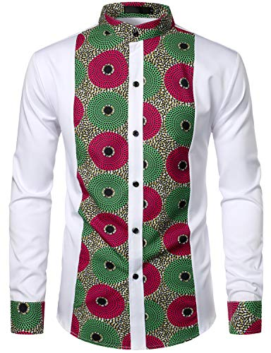 LucMatton Men's Stylish African Pattern Patchwork Design Long Sleeve Tuxedo Dress Shirt Nehru Collar Dashiki White Green Small