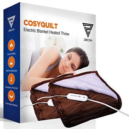 Electric Blanket Heated Throw w/ Foot Pocket Flannel & Sherpa Reversible Fast Heating Blanket 50 x 60, ETL Certification with 3 Heating Levels & 4 Hours Auto Off, Home Office Use & Machine Washable