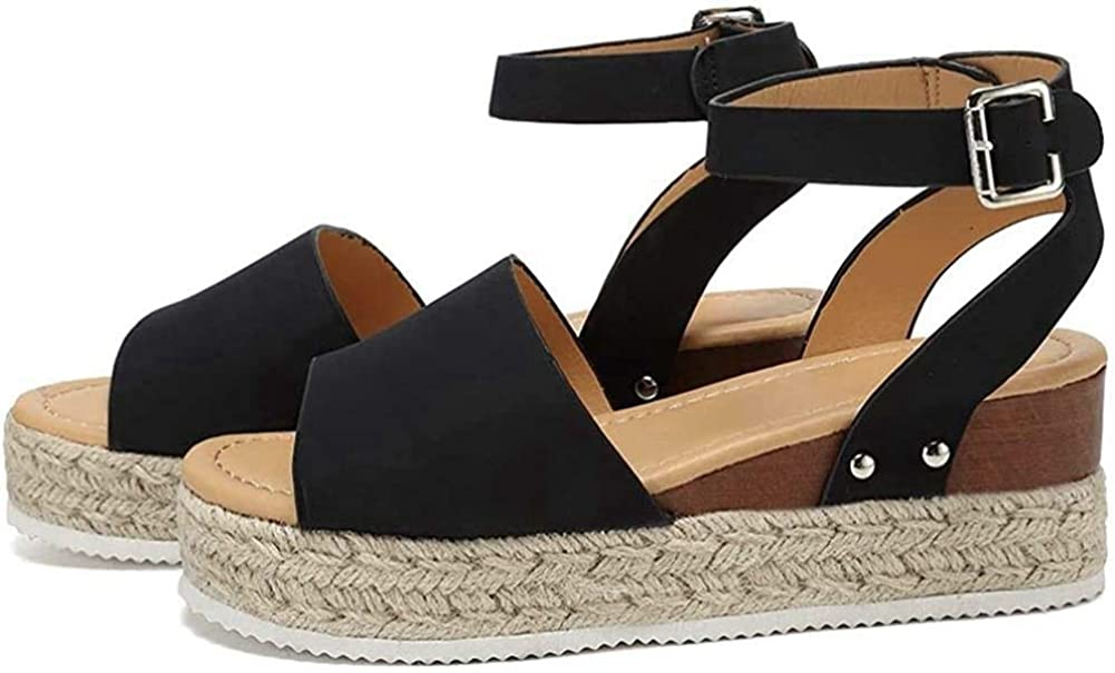 VANDIMI Womens Platform Sandals Espadrille Wedge Ankle Strap Studded Open Toe Sandals