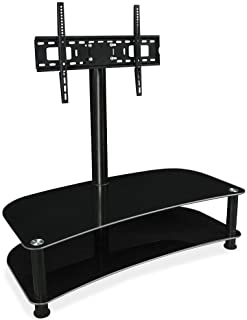 Floor TV Stand with Mount and Glass Shelves - TV Mount Entertainment Center, Fits 32, 42, 50, 55, 60, 65 and 70 Inch Screens, 88 Pound Capacity, Black