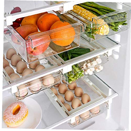 3 Pack cassetto del frigorifero di organizzatore, di disegno unico tiro fuori gli scomparti, Holder Frigo Shelf Storage Box, di piccola dimensione, (2 Frutta E Verdura 1 uovo)