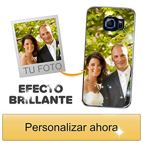 Funda móvil Personalizada con Efecto Brillante para Samsung Galaxy S6 Edge con Tu Foto, Imagen o Frase - Funda Blanda en TPU Gel Transparente - Impresión de máxima Calidad