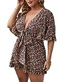 Romwe Women's Plus Size Floral Print Short Sleeve Deep V Knot Front Romper Short Jumpsuit Multicolor 2XL
