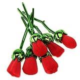 Wangzhi Juego De Brochas De Maquillaje En Polvo para Colorete En Forma De Rosa Roja De 6 Piezas, Herramienta Cosmética Facial para Niña