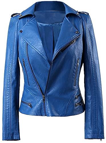 High Star Collections Chaqueta de piel auténtica para motociclista - azul - XL