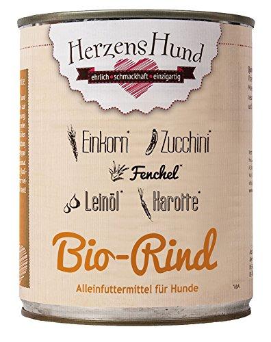HerzensHund Bio-Rind mit Bio-Einkorn, Bio-Zucchini, Bio-Karotte, Bio-Fenchel, Bio-Leinöl, 6 x 800 g