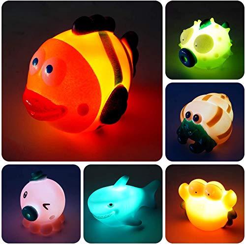 AOLUXLM Badespielzeug Baby ab 1 Jahr, Wasserspielzeug Kinder Bandewanne, Badewannenspielzeug Pool Spielzeug für Kinder,Junge, Mädchen ( 6 Stück LED Lichtereffekt 7 Farben )