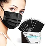 Black Disposable Face Masks, Individually Wrapped, Breathable Face Mask for Men Women, 3- Ply, Comfortable Adult Masks with Adjustable Nose Wire & Elastic Ear Loop 50 Pcs, Black