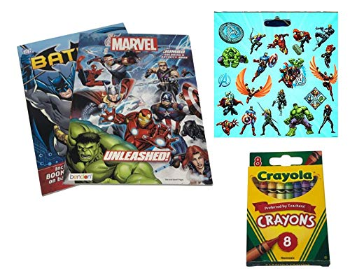 Marvel Heroes Coloring & Activity books with 8ct Crayola Crayons And Stickers features Hulk, Wolverine, Iron Man, Spider-Man And Captain America With Bonus Batman Jumbo Coloring Book