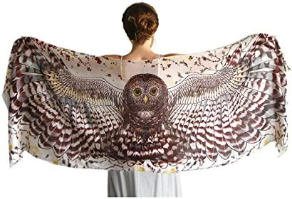 Designer Silf Cashmere Scarf With Wide Spread Bird Feather Wings Day Owl product image