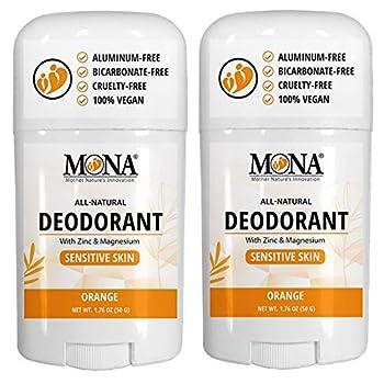 MONA BRANDS - 100% Natural Deodorant for Women Men & Teens   For Sensitive Skin   Aluminum Free   No Baking Soda   Vegan Non-GMO Gluten & Cruelty free   With Magnesium & Zinc   2-Pack ORANGE