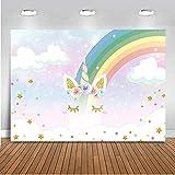 Mehofoto Rainbow Telón de fondo 7x5ft Feliz Cumpleaños Unicornio Flor Twinkle Star Photo Telones de fondo Niños sin fisuras Decoración del partido Fotografía de fondo