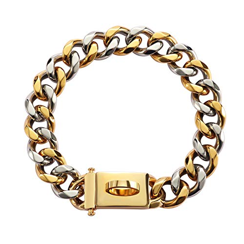 Pet State 19mm Gold Dog Collar, Cuban Link Collar with Secure Snap Buckle, 18K Gold Plated 20X Thicker 316L Martingale Stainless Steel, Chew Proof Heavy Duty Pitbull Collar for All Sized Dogs