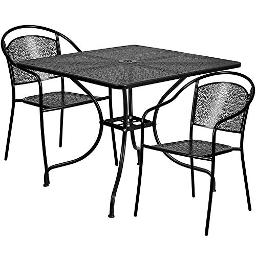 LIVING TRENDS 35.5'' Square Black Indoor-Outdoor Steel Patio Table Set with 2 Round Back Chairs