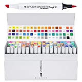 Bianyo Professional Series Alcohol-Based Dual Tip Brush Markers Set (Set of 72,Display Box)