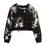 LISTHA Cute Camo Hoodie Women Crop Tops Long Sleeve Hooded Sweatshirt Blouse Tops