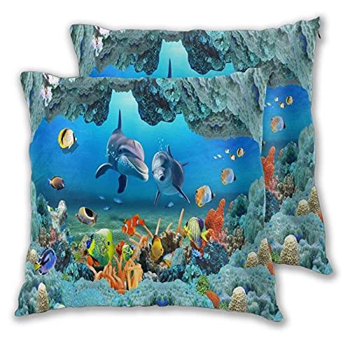 VINISATH Set de 2 Funda de Cojín 55x55cm Tema de Animal Marino Submarino de Coral de Peces Tropicales de océano Azul Fundas de Almohada para Cojines Decorativos para Sofá Cama Coche Hogar