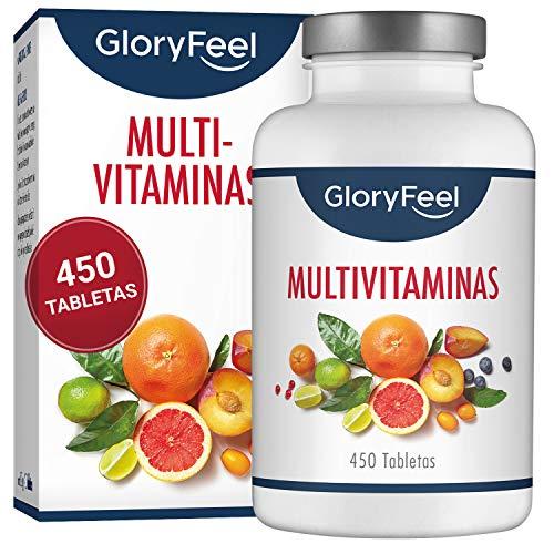 GloryFeel Multivitaminas 450 Pastillas Veganas - Vitaminas y Minerales - Complejo Multivitaminico para Hombres y Mujeres