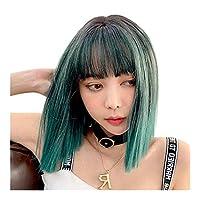 HongJie Hou 新しいかつら女性ヨーロッパとアメリカのファッションかつら同じ段落化学繊維かつらヘッドギア (Color : Brown Black 43CM)
