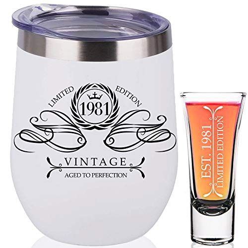 1981 40th Birthday Gifts For Women Men 40th Birthday Decorations Present for Women Funny Present Ideas Her Him Wife Mom Dad Husband White Wine Tumbler Stainless Steel Shot Glass 40 Anniversary