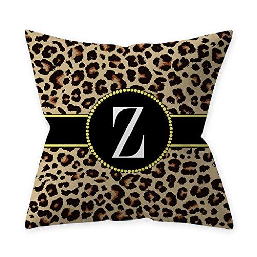 goneryisour - Funda de cojín con 26 letras inglesas, diseño de leopardo, para decoración de sofá o asiento de coche