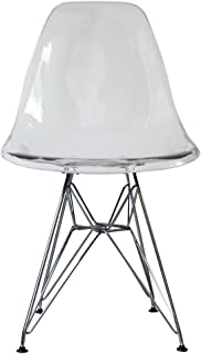 Silla de comedor de plástico con patas inspiradas en Eiffel