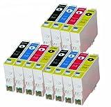 12 cartuchos de tinta compatibles para Epson (T0555) T0551, T0552, T0553, T0554, Epson Stylus Photo RX420 RX425 RX520 R240 R245