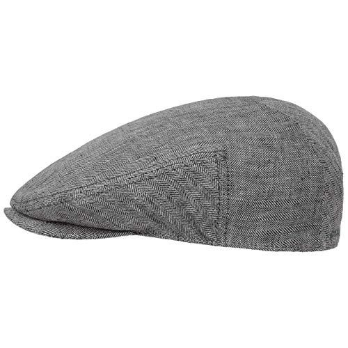 Stetson Woodfield Linen Flatcap - Leinenmütze Herren - Schirmmütze aus Leinen mit UV-Schutz (+40) - Sommercap Herringbone - Flat Cap Frühjahr/Sommer - Herrenmütze anthrazit M (56-57 cm)