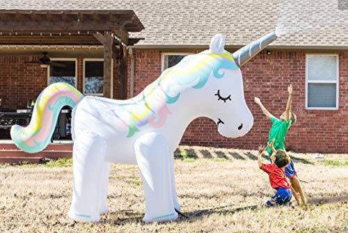 DealBerry Gigante Inflable Unicornio jardín rociador 6 pies Alto, Unicornio mágico niños al Aire Libre regadera de Agua