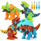 Dinosaurios Juguetes con Taladro, ZWOOS 4 Piezas Huevo de Dinosaurio Juegos DIY Construccion Juguete de Montaje de Dinosaurios para Niños y Niñas 3 Años