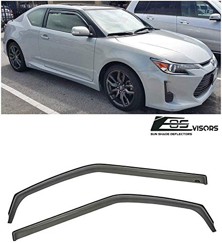 Extreme Online Store Replacement for 2011-Present Scion tC Gen. 2   EOS in-Channel Style Smoked Tinted JDM Side Window Vent Visors Rain Guard Deflectors