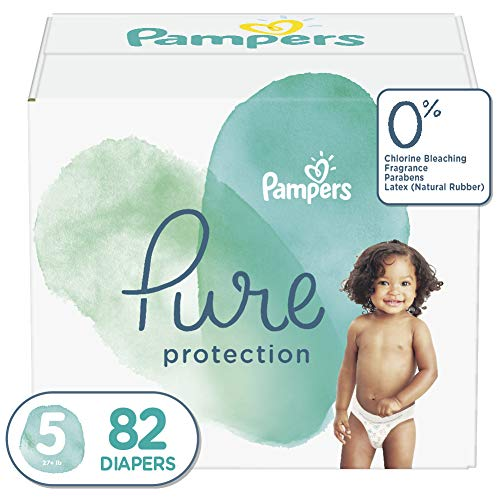 Diapers Size 5, 82 Count - Pampers Pure Protection Disposable Baby Diapers, Hypoallergenic and Unscented Protection, Enormous Pack (Old Version)