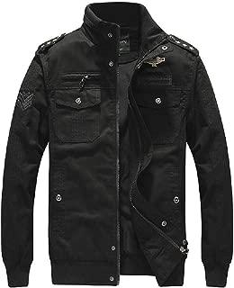 Men's Jacket Casual Windbreaker Cotton Military Jacket Bomber Jackets Coat Full Zip Multi Pockets Jacket (Color : Khaki, Size : L)