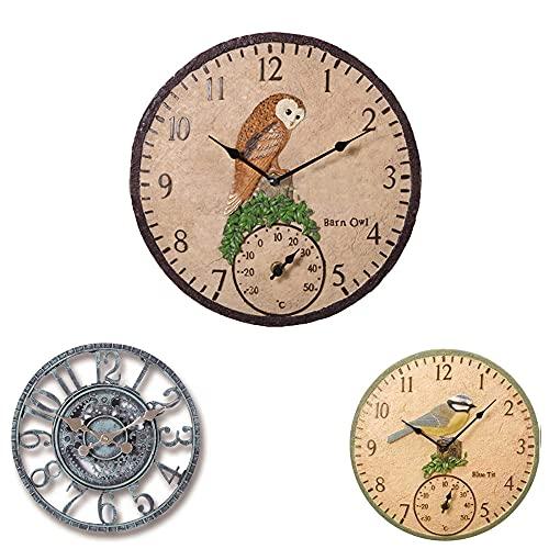 Reloj de pared para jardín, resistente a la intemperie, reloj de pared con termómetro, equipo retro, reloj de jardín, decoración para interiores y exteriores, reloj de cuarzo de pared de 30 cm