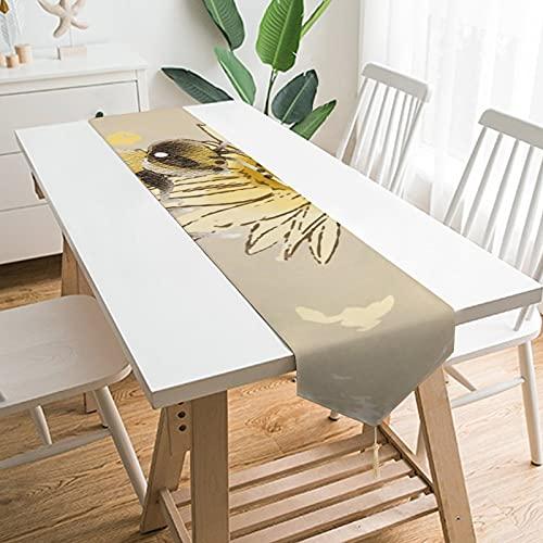 by Unbranded Camino de mesa de 228,6 x 33 cm, polinizador de avispas de abeja brillante en margarita, decoración de mesa para boda, diseño de mantel, decoraciones al aire libre picnics mesa de comedor