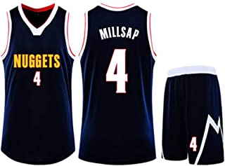 Basketball clothing suit Denver Nuggets 4#Paul Millsap jersey sleeveless vest sports shorts suit training competition casual sweatshirt,Blue,2XS