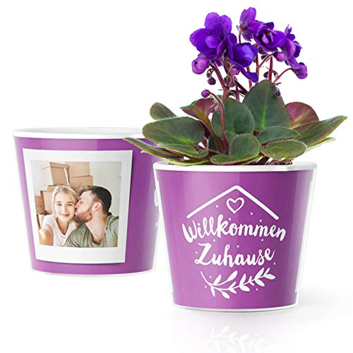 Facepot Willkommen Zuhause Blumentopf (ø16cm) | Geschenke zum Wohnungseinzug, Hauseinweihung, Einzugsgeschenke oder Wohnzimmer Dekoration mit Bilderrahmen für 2 Fotos (10x15cm)