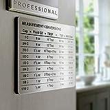 SOONHUA Measurement Conversion Refrigerator Magnet, kitchen Measurement Conversion Chart Stainless Steel Refrigerator Magnet for Cups Tablespoons Teaspoons Fluid Oz Milliliters