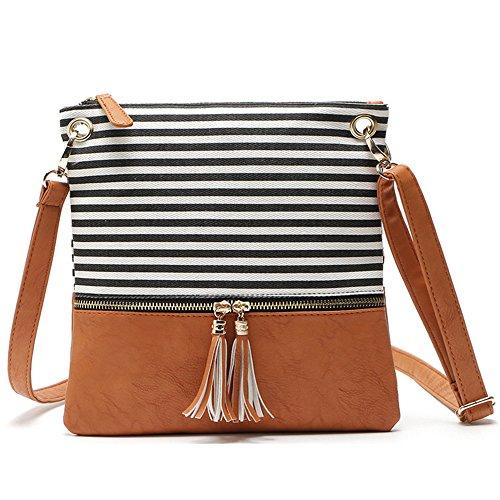 Duketea Stripe Medium Crossbody Purse, Canvas + Faux Leather Crossover Shoulder Bag (Black)