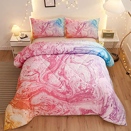 Namoxpa Pink Marble Comforter Sets,Watercolor Pink Marble Pattern,Decorative 3 Piece Bedding Comforter Sets with 2 Pillow Shams, Twin Size