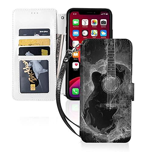 Estuche para teléfono LINGF,Estuche para música en Blanco y Negro Gris Guitarra para iPhone 11 Estuche Lindo para Mujeres,Hombres,Billetera,Estuche de Cuero con Correa,Estuche Protector