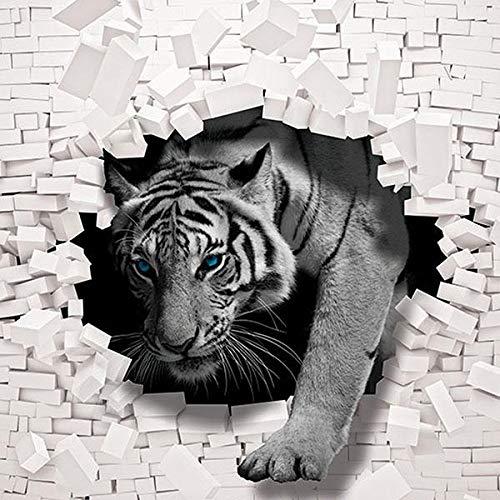 FORWALL Fototapete Vlies - Tapete Moderne Wanddeko 3D Tiger kommt aus der Wand V8 (368cm. x 254cm.) AMF10400V8 Wandtapete Design Tapete Wohnzimmer Schlafzimmer