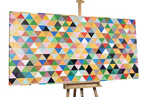'Shape meets Color' 200x100cm | Grüne Dreiecke in Buntem Muster XXL | Modernes Kunst Ölbild