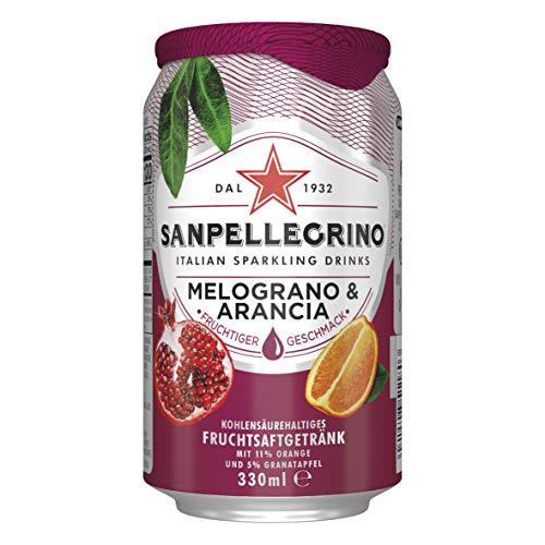 Sanpellegrino Limonade mit Orange und Granatapfel, Melograno & Arancia, Hoher Fruchtanteil 16% aus Orangen und Granatapfel, Prickelnd süße Geschmacksnote, 24er Pack (24 x 0,33l) Einweg Dosen