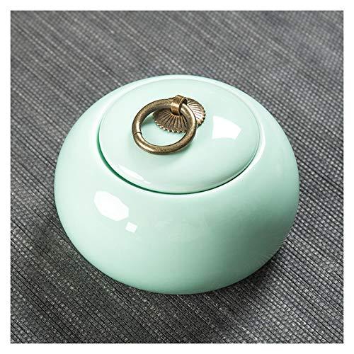 Uziqueif Mini Handmade Ceramic Cremation Urn für kleine Hunde, Katzen, menschliche Asche, Cremation of Ashes Memorial, Funeral Box Memorial,Celadon