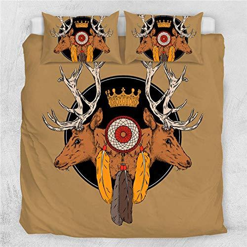 Meesovs® Sängklädesset tecknat djur älg 3D-tryck påslakan 2 örngott 50 x 75 cm täcke sängkläder set med dragkedja 100 % mikrofiber singelsäng 135 x 200 cm jul barn påslakan