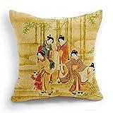 telisha Retro estilo amarillo cinco japonés Geisha mujer Kids Home Decor manta funda...