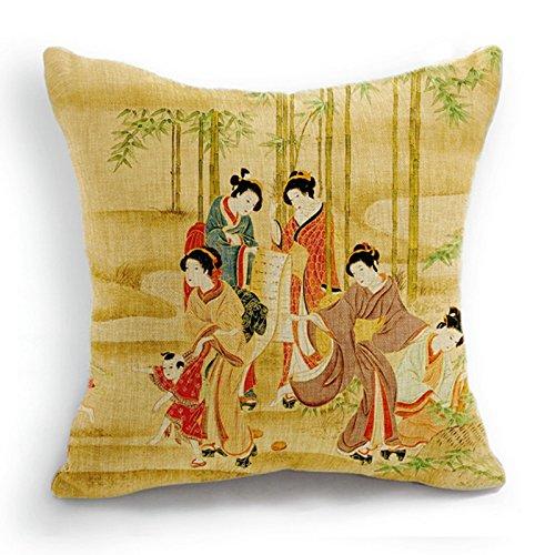 """telisha Retro estilo amarillo cinco japonés Geisha mujer Kids Home Decor manta funda para cojín funda de almohada Sham 18""""45cm"""