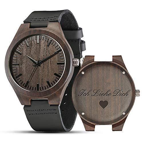 Shifenmei Herren Uhr Quarz Analog Gravur Holzuhr mit Leder Armband Personalisiertes Geschenk für Geburtstag inkl. Geschenkbox S5520 (A-Love-1)