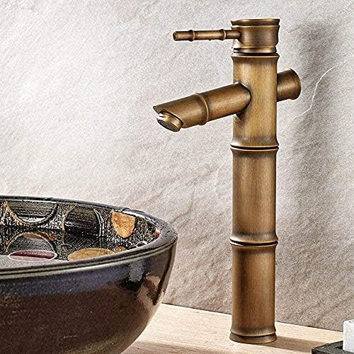 lqgpsx Grifos de Agua fría y Caliente,Grifo de Fregadero de Cocina Antiguo con Junta de bambú de Bronce,Grifo Mezclador de Lavabo,Ahorro de Agua eficaz